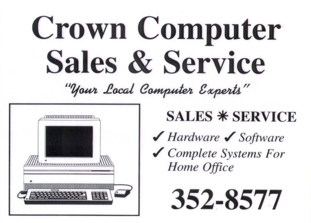 Crown Computers first Ad to help serve Saskatchewan and Manitoba customers.